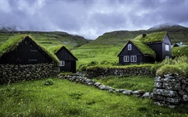 Preview wallpaper Faroe Islands, houses, green grass, clouds