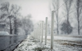 Vorschau des Hintergrundbilder Zaun, verschneit, Winter