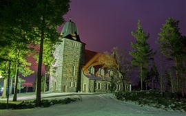 Finland, Church, trees, night