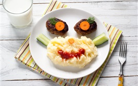 Preview wallpaper Food, mashed potatoes, meat, milk, face, creative