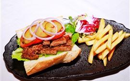 미리보기 배경 화면 음식, 식사, 고기, 양파, 빵