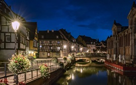 Preview wallpaper France, Colmar, night, lights, river, bridge, houses