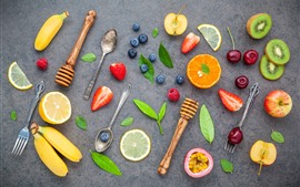 Preview wallpaper Fruit, banana, orange, kiwi, blueberry, strawberry, spoon, fork