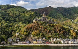 Germany, Cochem, forest, mountains, river, houses, castle
