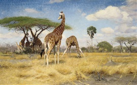 Preview wallpaper Giraffes, art painting