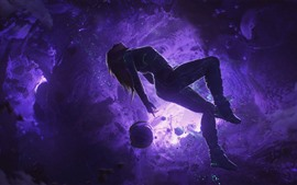 Girl, float, space, planet, art picture