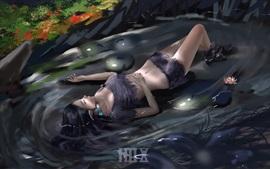 Niña duerme en el agua, flores, imagen de arte
