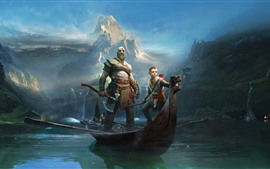 Preview wallpaper God of War, PS4 game, boat, river