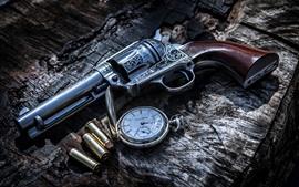 Arma, balas, arma, relógio de bolso