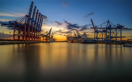 Preview wallpaper Hamburg, Germany, port, sea, sunset
