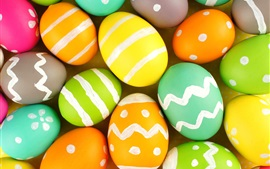 Preview wallpaper Happy Easter, many colorful eggs