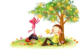 Happy child, little girl, bear, stars, tree, art picture