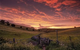 Hills, fence, red sky, clouds, sunset