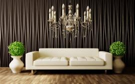 Interior, sofá, araña, florero, plantas