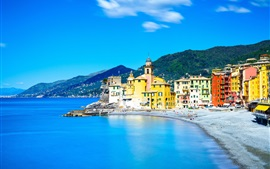 Italy, Camogli, Liguria, sea, houses, city, blue sky