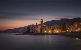 Italia, Liguria, Camogli, costa, mar, ciudad, noche, luces