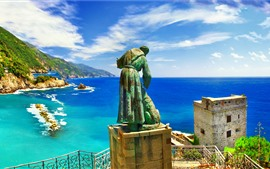 Preview wallpaper Italy, Liguria, statue, sea, coast