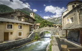 Preview wallpaper Italy, Piedmont, village, bridge, river, mountain
