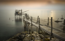 Preview wallpaper Italy, Pierce, Abruzzo, pier, sea