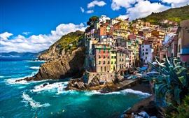 Preview wallpaper Italy, Riomaggiore, houses, sea, coast, boats