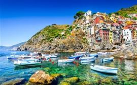 Italia, Riomaggiore, mar, costa, barcos, casas