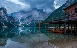 Preview wallpaper Italy, South Tyrol, Braies Lake, dock, boats, mountains