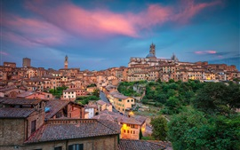 Preview wallpaper Italy, Tuscany, Siena, city, house, street