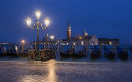 Preview wallpaper Italy, Venice, gondola, boats, river, night, lamps
