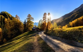Italie, route, cabane, montagnes, arbres, lever de soleil