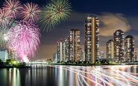 Japon, Tokyo, feux d'artifice, gratte-ciel, nuit, rivière