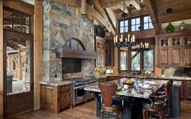 Cocina, comedor, velas, mesa, sillas