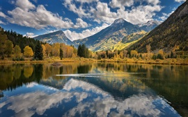 Lake, mountains, trees, clouds, water reflection