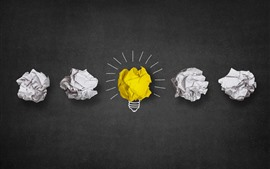 Preview wallpaper Light bulb, yellow and white, paper, minimalist