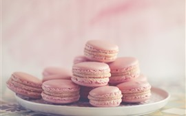 Preview wallpaper Light pink macaroon, cakes, plate