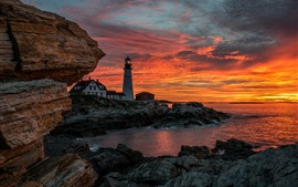 Preview wallpaper Lighthouse, clouds, red sky, sunset, sea