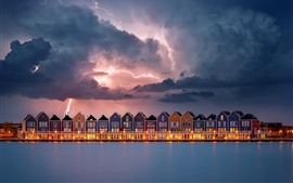 Lightning, houses, river, clouds, storm