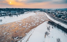 Preview wallpaper Lithuania, Kaunas, beautiful city, winter, snow, houses, river