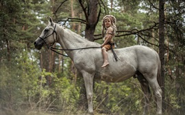 Preview wallpaper Little boy sit on white horse