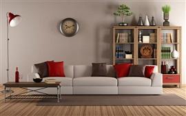 Preview wallpaper Living room, interior, sofa, books