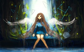 Preview wallpaper Long hair girl, angel, wings, art picture