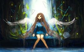 Menina de cabelos longos, anjo, asas, imagens de arte
