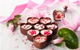 Preview wallpaper Love heart chocolate candy, ribbon, flowers, romantic
