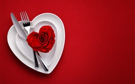 Preview wallpaper Love heart red rose, plates, fork, knife, red background