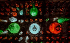 Many bottles, colorful, top view