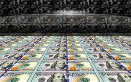 Preview wallpaper Many dollars, paper currency, printing