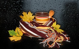 Preview wallpaper Maple leaves, cup, scarf, still life