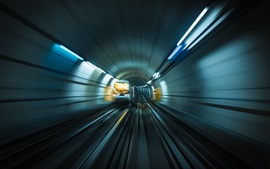 Preview wallpaper Metro, rails, movement, train, speed, lights
