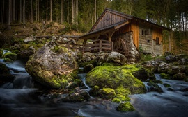 Preview wallpaper Mill, stones, moss, creek, forest