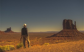 Preview wallpaper Monument Valley, desert, cowboy, USA