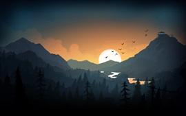 壁紙のプレビュー 山、丘、日没、鳥、アート写真